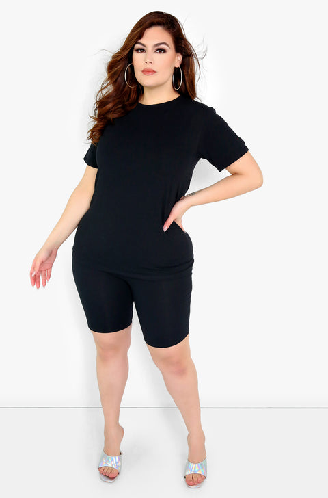 Black Long T-Shirt Plus Sizes