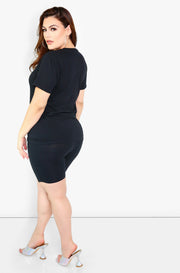 Black Crew Neck Short Sleeve Top Plus Size