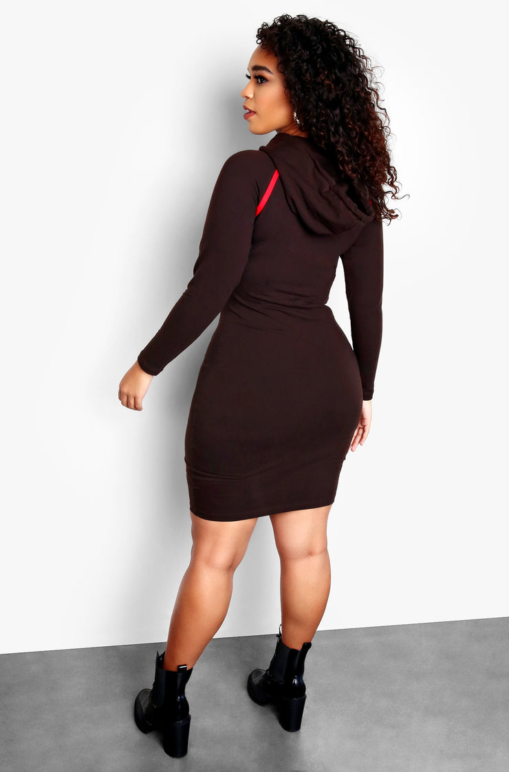 Brown Plus Size Long Sleeve Hoodie Mini Dress