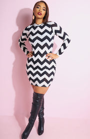 White Chevron Bodycon Mini Dress plus sizes
