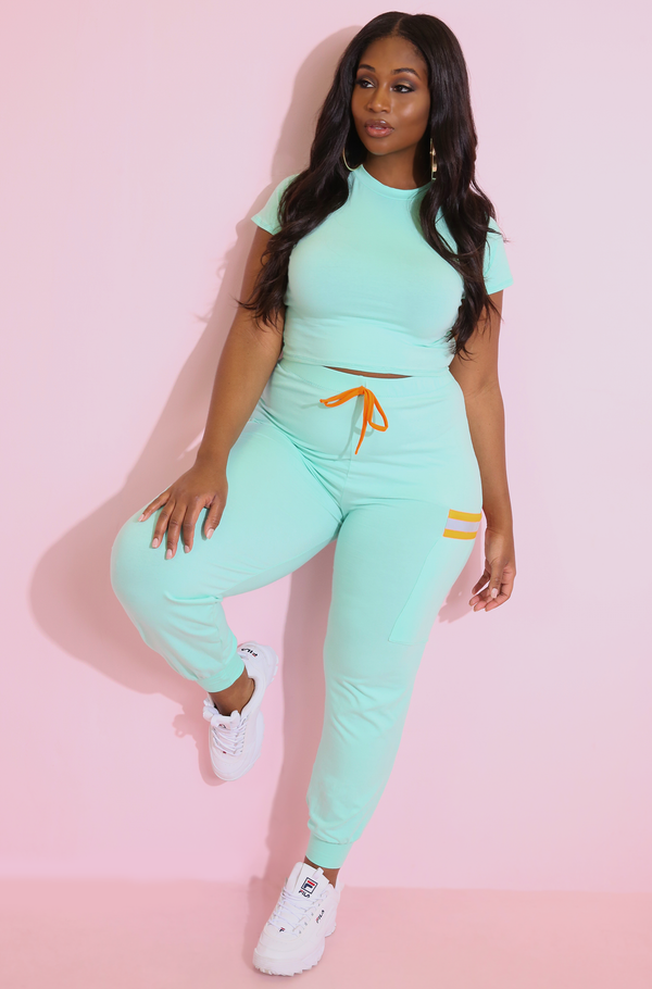 Mint Jogger Reflective Neon Pants Plus Sizes