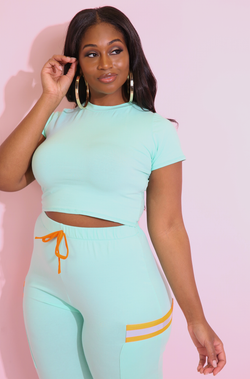 Mint Crew Neck Crop Top Plus Sizes