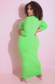 Lime Green  V-Neck Bodycon Maxi Dress Plus Sizes