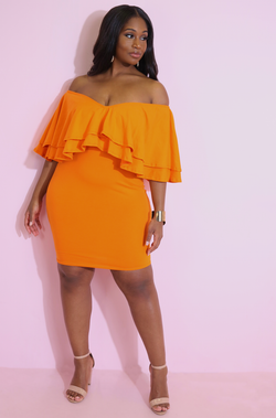 Orange Ruffled Bodycon Mini Dress Plus Sizes