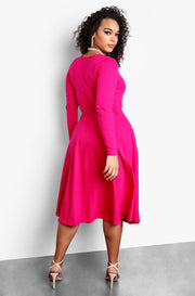 Fuchsia Plus Size Long Sleeve Skater Midi Dress