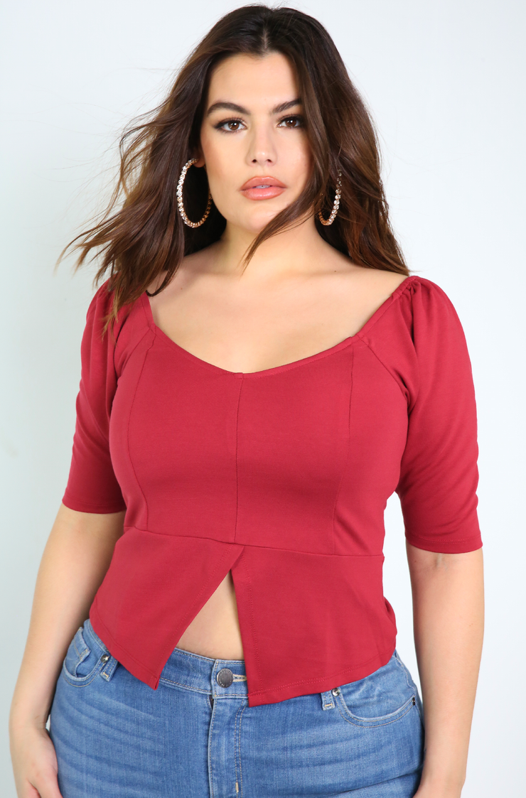 Denise Mercedes Burgundy Sweetheart Neckline Puff Sleeve Top Plus Sizes