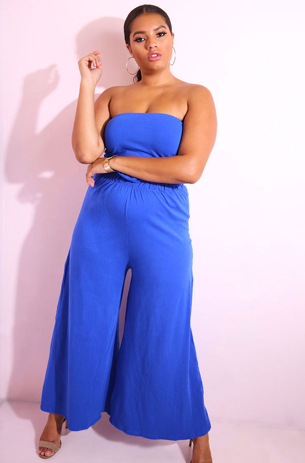 Royal Blue Paper-Bag Culotte Pants plus sizes