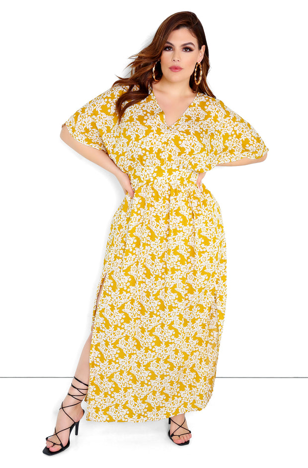 Yellow Kimono Sleeves Maxi Dress Plus Size