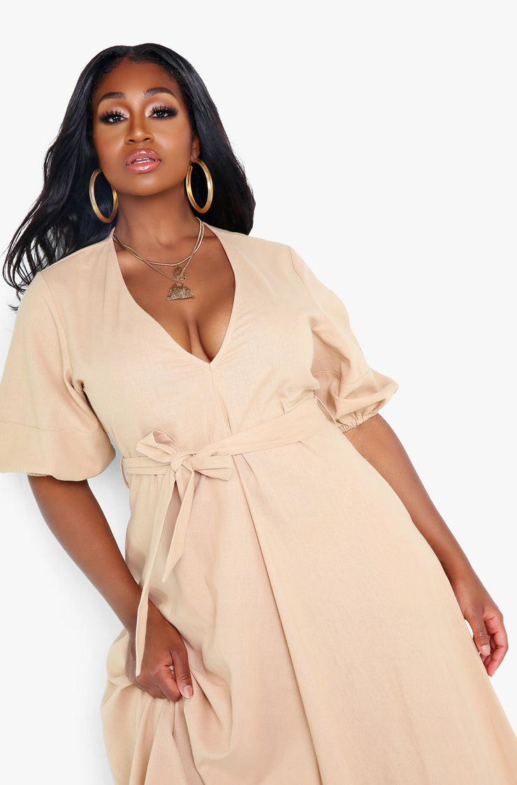 Khaki Puff Sleeve Plunge Maxi Dress w. Belt Plus Sizes
