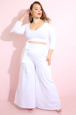 White V-Neck Top & Wide Leg Pant Set Plus Sizes