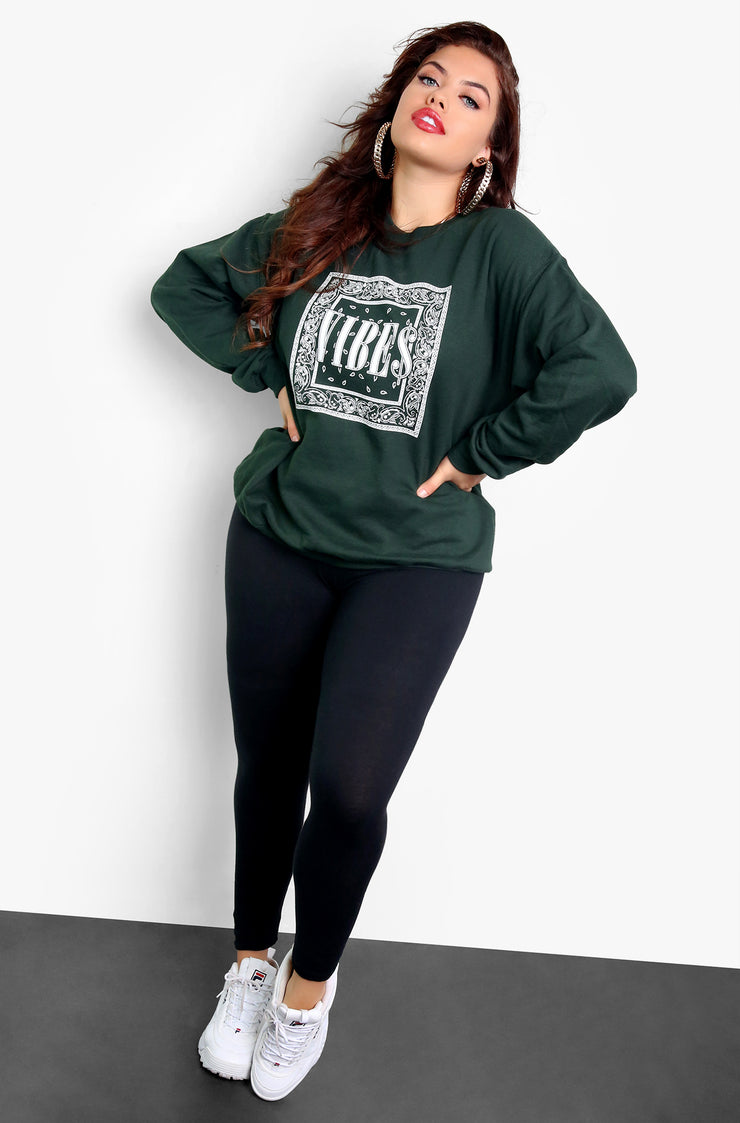 Green Long Sleeve Graphic Sweatshirt Plus Sizes
