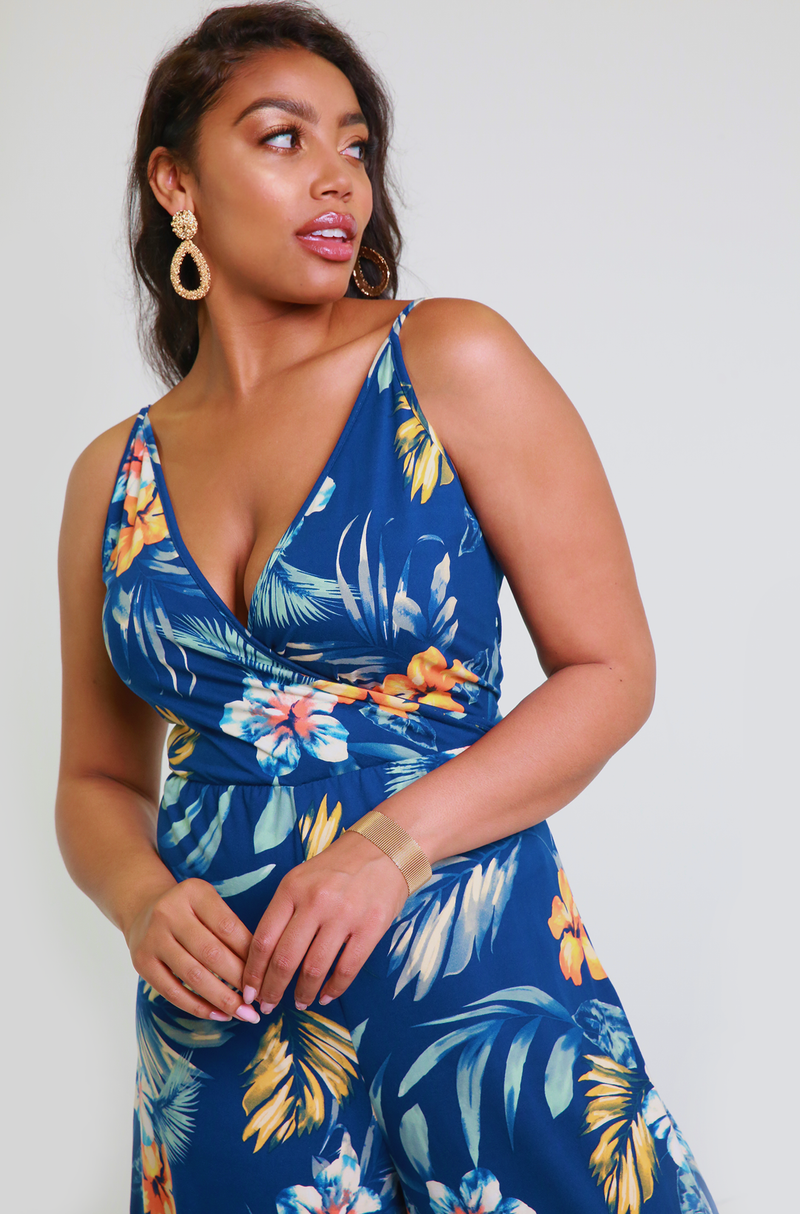 Navy Blue Culotte Crossover Jumpsuit Plus Sizes