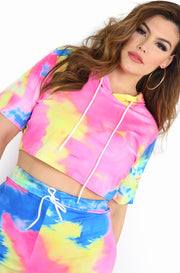 Blue Tie Dye Hooded Crop Top Plus Size