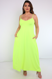 Lime Green Strappy Maxi Dress Plus Sizes