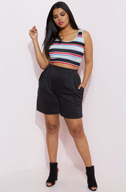 Black Pleated Short Pants With Pockets Plus Sizes