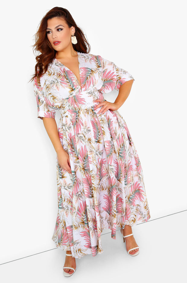 White Kimono Sleeve Skater Maxi Dress Plus Sizes
