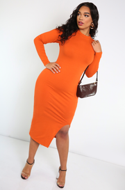 Burnt Orange Crew Neck Bodycon Midi Dress
