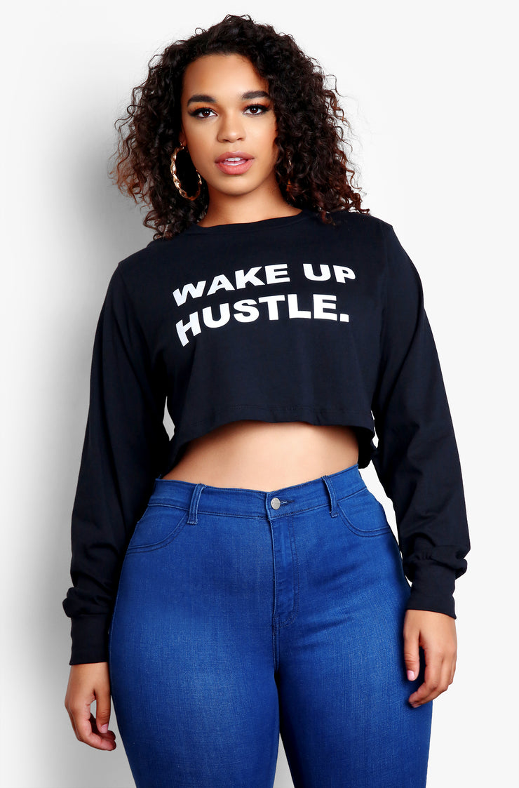 Black Long Sleeve Graphic Crop Tops Plus Sizes