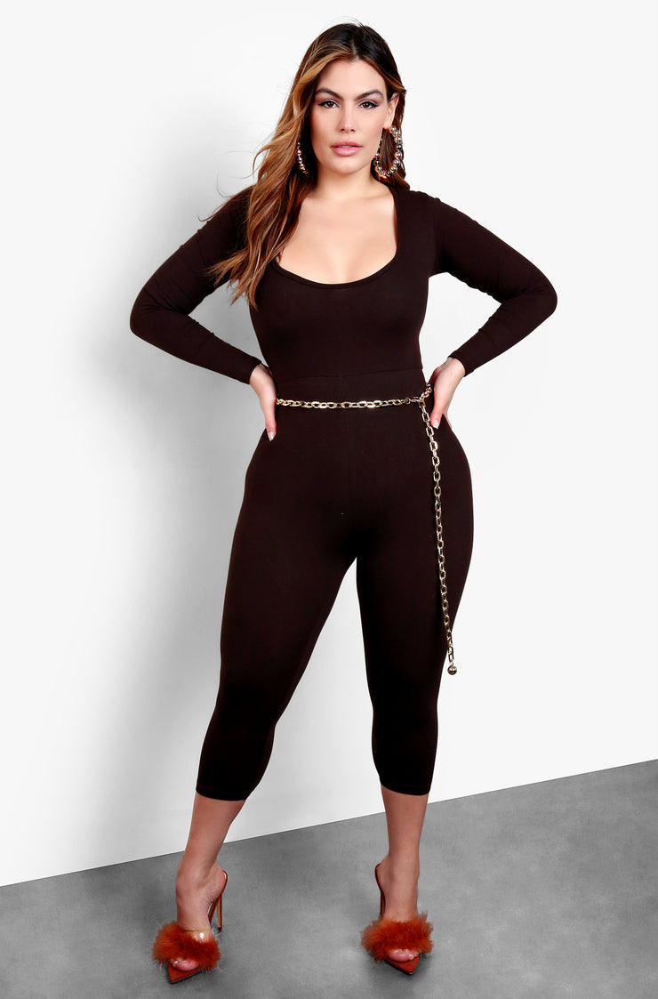 Brown Scoop Neck Long Sleeve Cropped Jumpsuit
