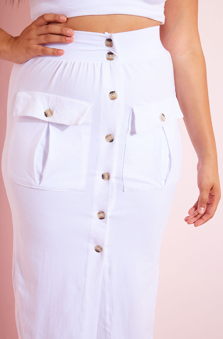 White Cargo Bodycon Maxi Skirt Plus Sizes