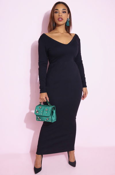 Black Over The Shoulder Ribbed Bodycon Maxi Dress Plus Sizes