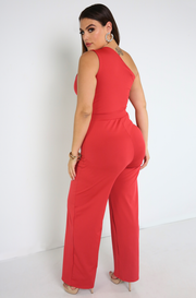 Rust Red One Shoulder Cut-Out Jumpsuit Plus Sizes
