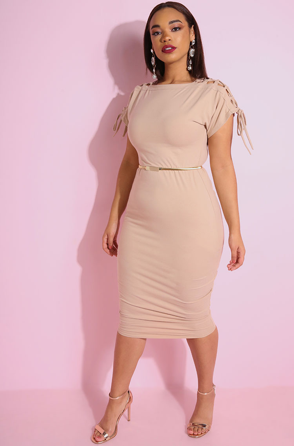 Nude Caged Shoulders Bodycon Midi Dress plus sizes