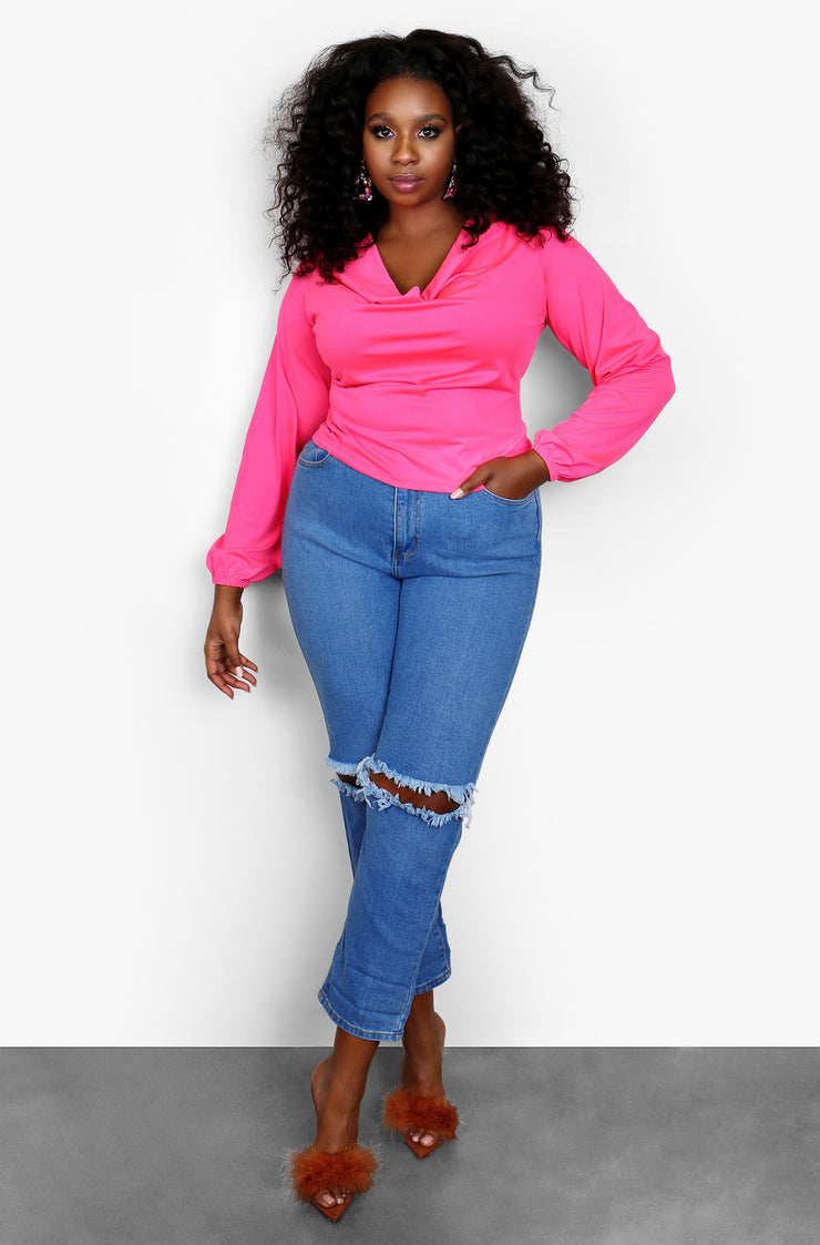 Hot Pink Cowl Neck Long Sleeve Top