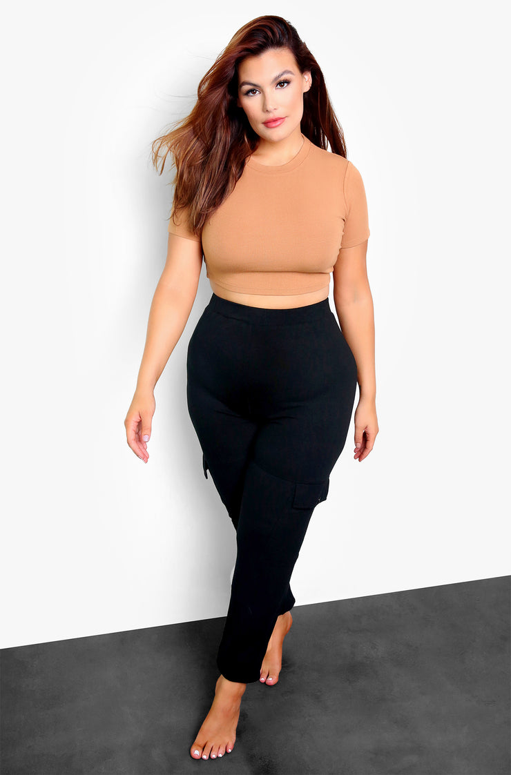 "Rebdolls ""Want Something"" High Waist Ribbed Joggers w. Pockets"