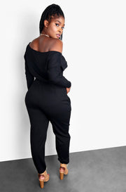 Black Over The Shoulder Jogger Jumpsuit Plus Sizes