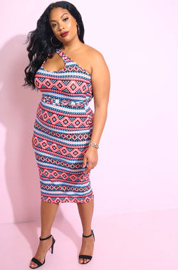 Wrap Around Neckline Midi Dress in red print plus sizes