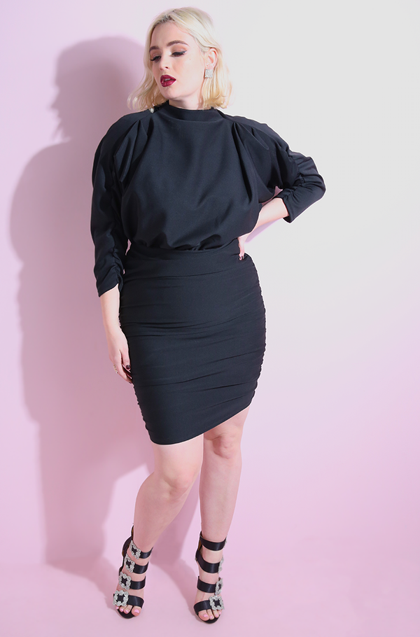 Black Draped Cocktail Bodycon Ruched Mini Dress plus sizes