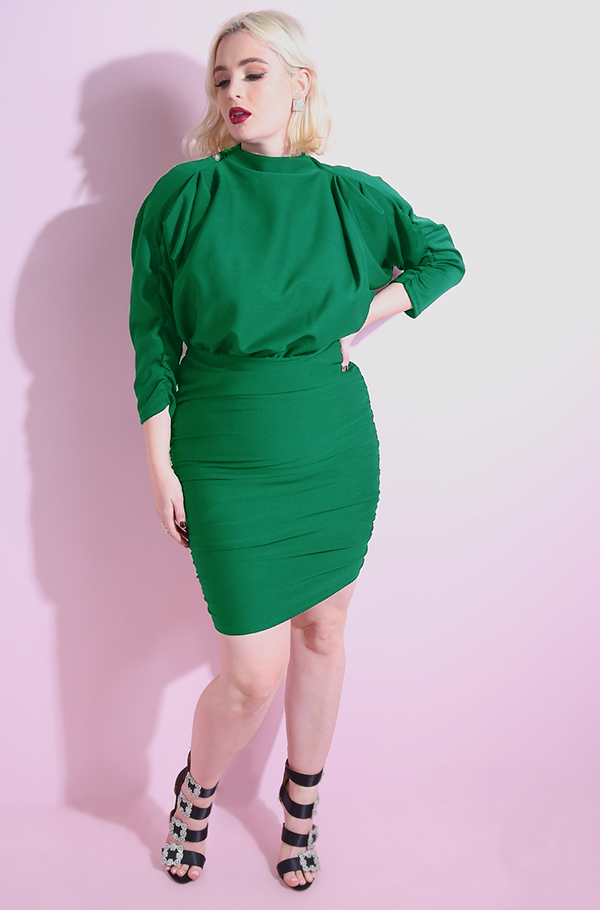 Green Draped Cocktail Bodycon Ruched Mini Dress plus sizes