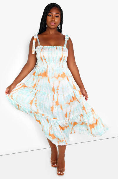 Orange Smocked Top Tie Dye Midi Dress Plus Sizes