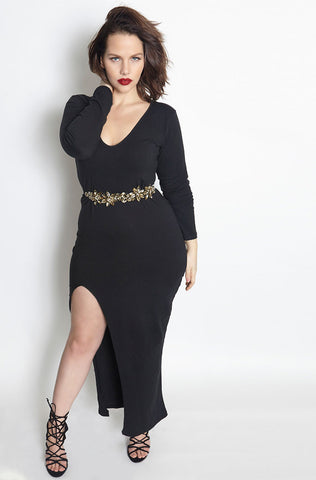 "Rebdolls ""All Eyes On Me"" Cut-Out Turtleneck Midi Dress - FINAL SALE CLEARANCE"
