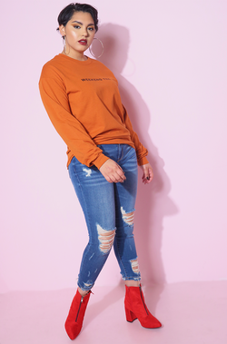 Burnt Orange Long Sleeve Crew Neck Tshirt plus sizes
