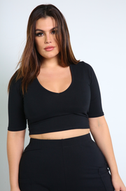 Black V-Neck Crop Top Plus Sizes