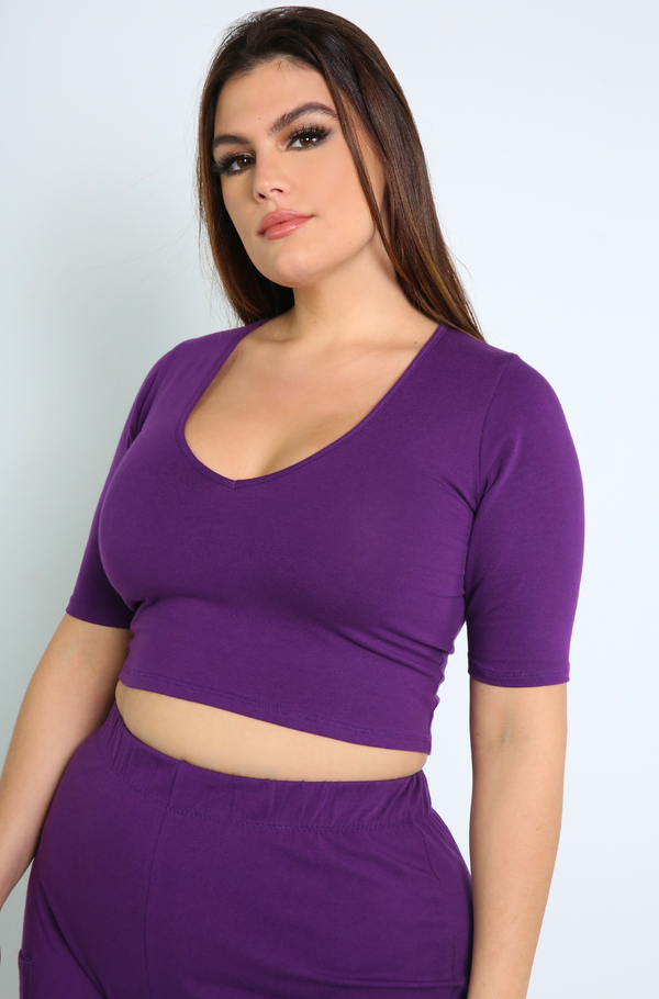 Purple V-Neck Crop Top Plus Sizes