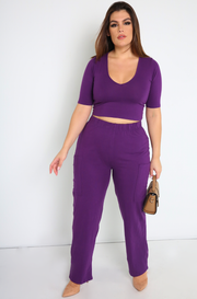 Purple Wide Leg Cargo Pants Plus Sizes