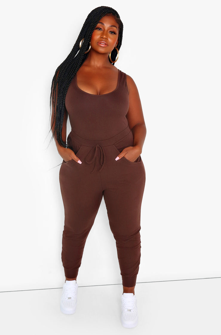 Brown Bodysuit & Jogger Pant Sets Plus Size