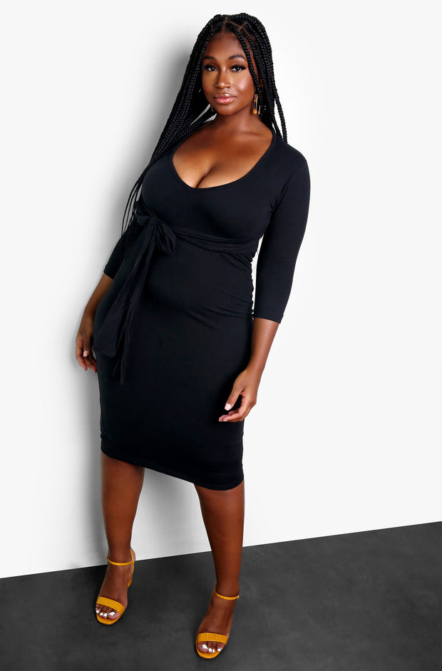 Black Tie Waist Bodycon V-Neck Midi Dress Plus Sizes