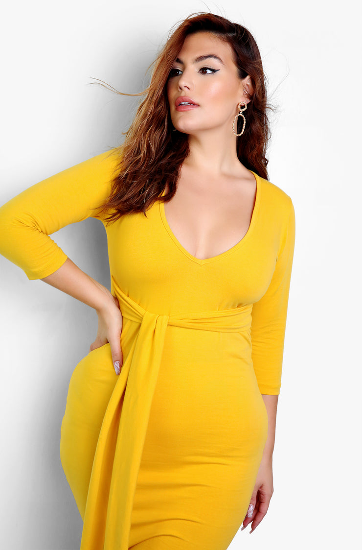 "Rebdolls ""We Made It"" Tie Waist Bodycon V-Neck Midi Dress - Mustard"