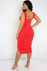 Red Squared Neckline Midi Dress