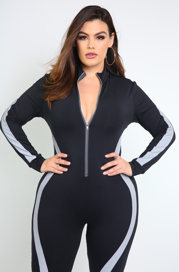 Black Zip Up Jumpsuit Plus Sizes