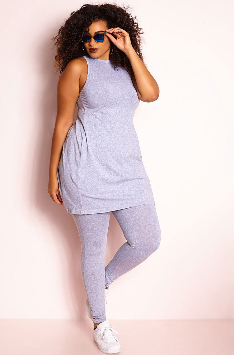 Gray High Waist Leggings plus sizes