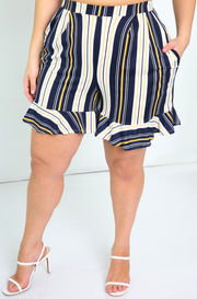 Navy Blue Ruffle Wide Leg Shorts With Pockets Plus Sizes