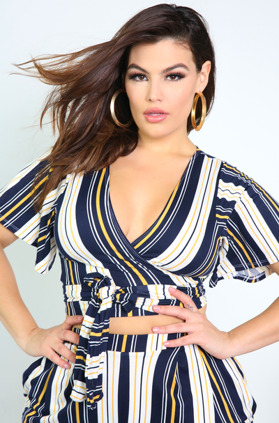 Navy Blue Wrapped Top Plus Sizes