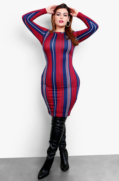"Rebdolls ""What I Want"" Long Sleeve Bodycon Stripe Mini Dress - Burgundy"