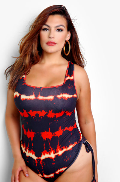 Black Tie Dye Drawstring Ruched Bodysuit Plus Sizes