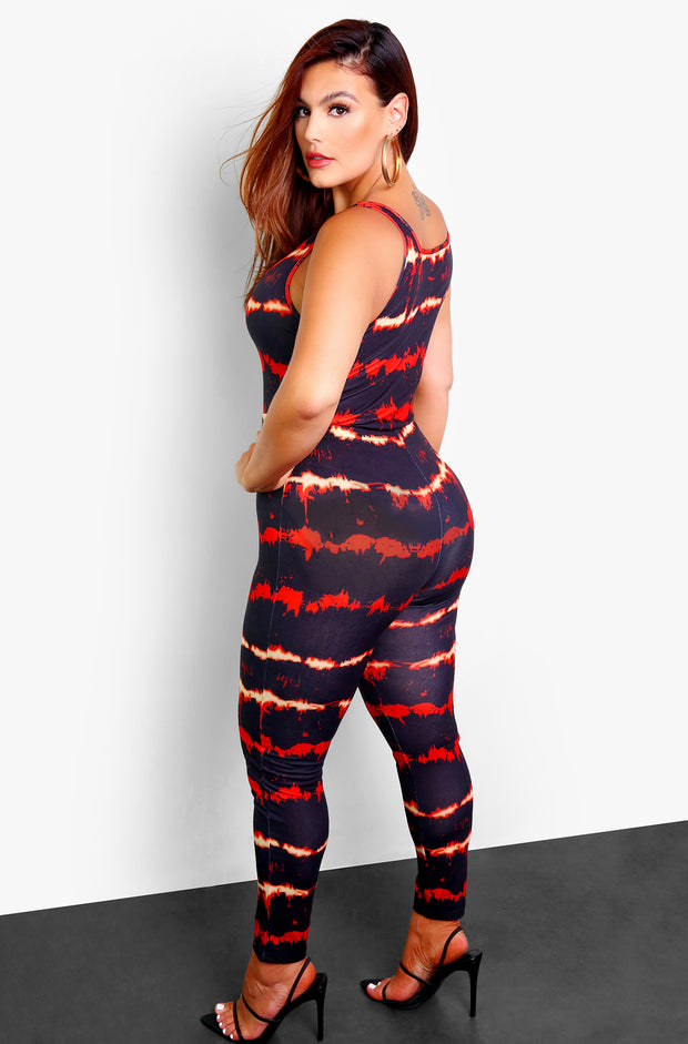 Black Tie Dye High Waist Leggings Plus Sizes
